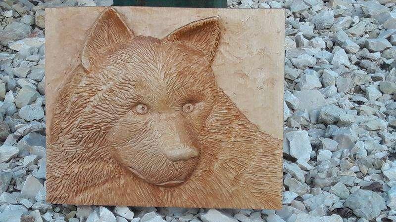 תבליט ראש זאב מעץ Bass, דרור