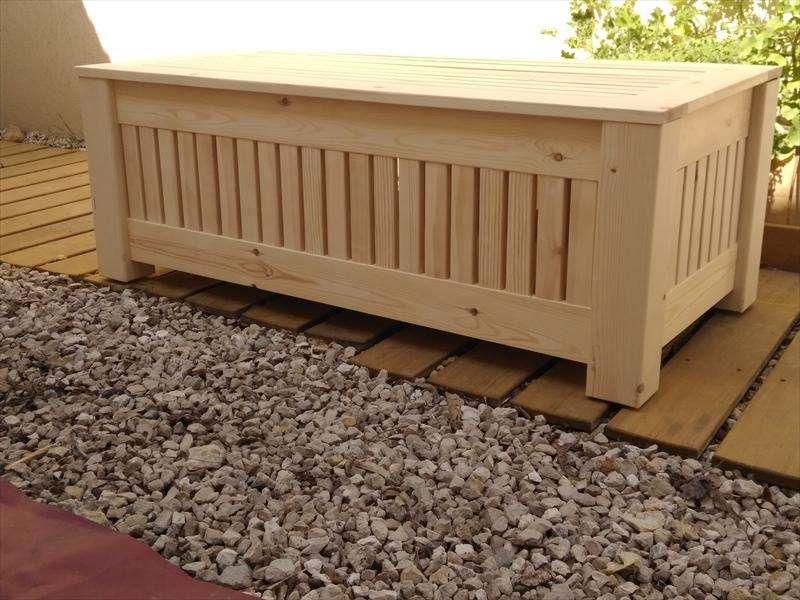שולחןארגז אחסון, לחוץ, מעץ אורן, אנה